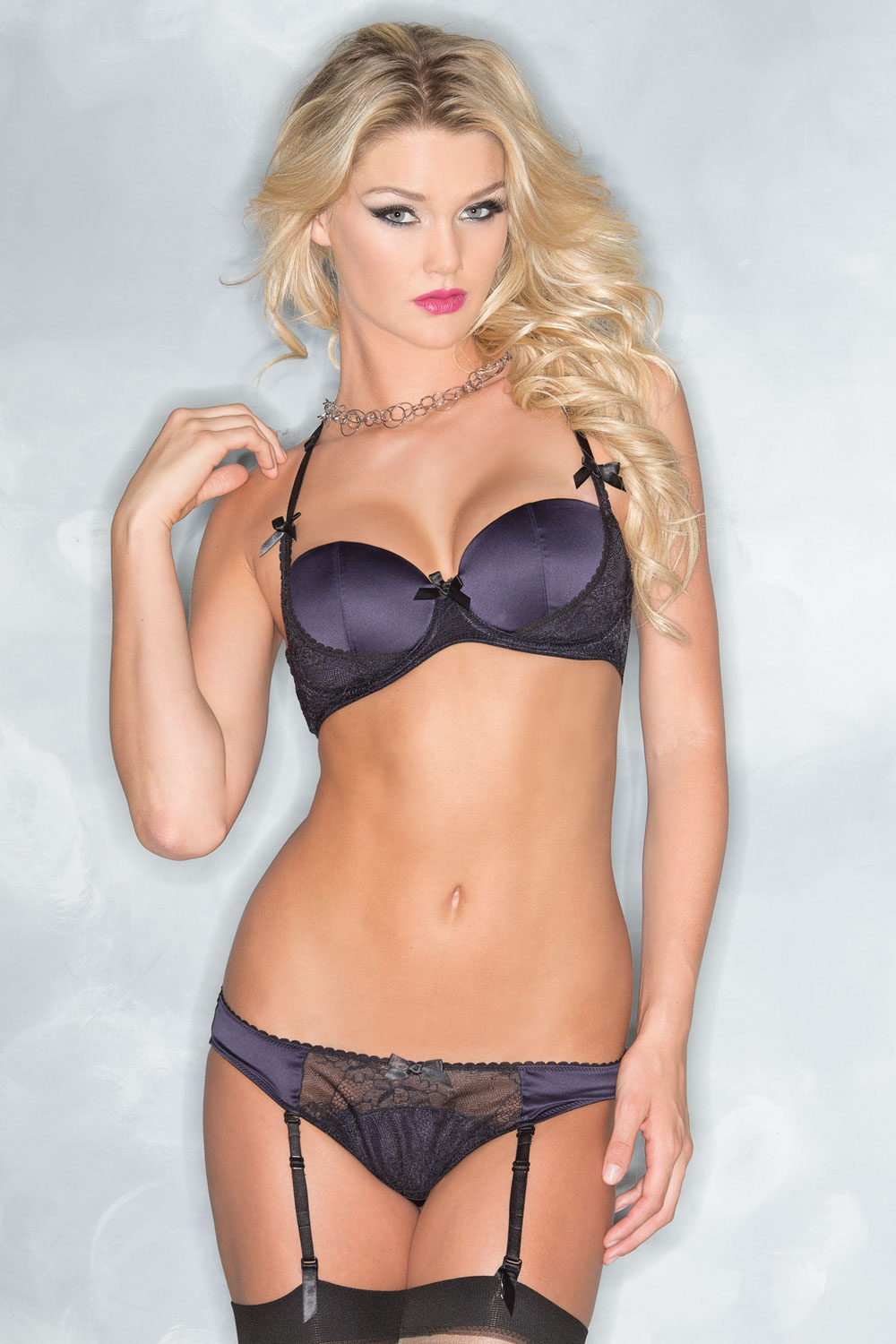 Be Wicked Bra and Panty Set Navy/Black - S BW1537