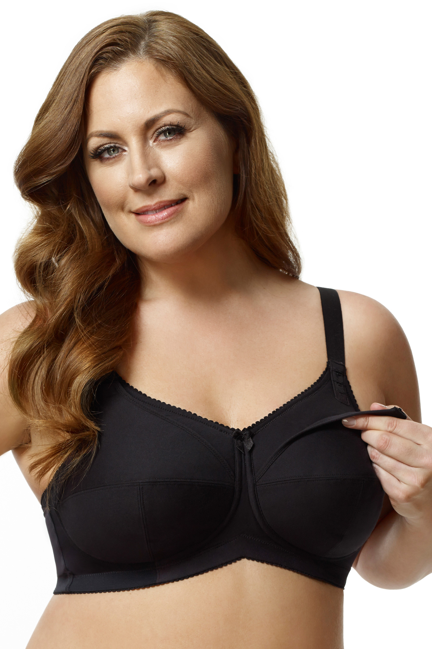 ELILA Cotton Nursing Bra Black - 44 - G 1613