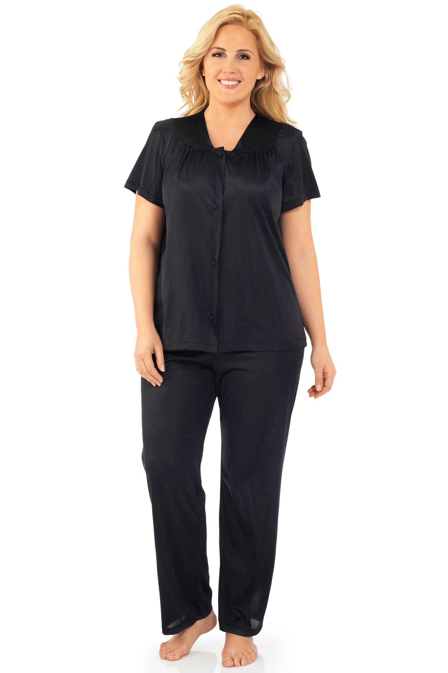 Exquisite Form Short Sleeve Pajama Black - 1X 90107/90807