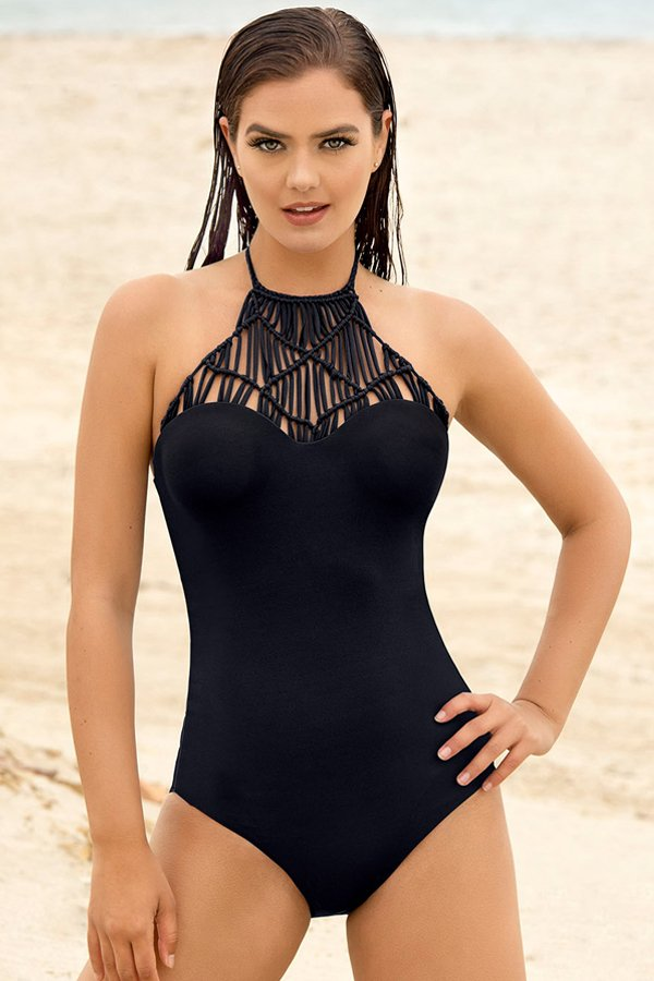 Leonisa Hand Made Knitted High Neck One Piece Swimsuit 190778