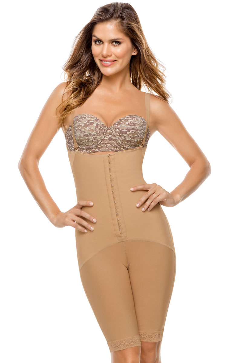 Leonisa Latex Mid-Thigh with Booty Lift Natural Tan - S 0...