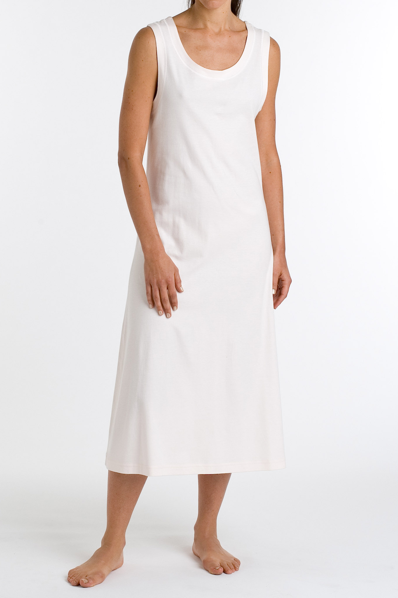 P. Jamas P.Jamas Butterknit Sleeveless Long Gown White - ...