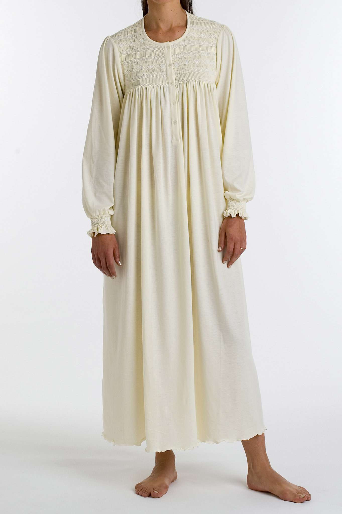 P.Jamas Isabel Embroidered Long Gown Yellow - L ISABEL