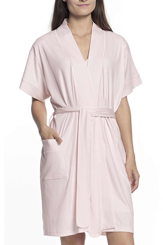 P.Jamas Knit Butterknit Short Robe Pink - L 347660