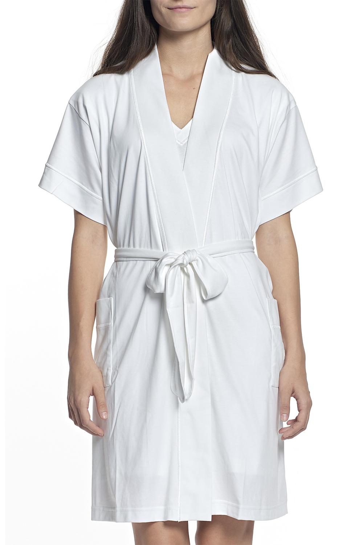 P.Jamas Knit Butterknit Short Robe White - L 347660