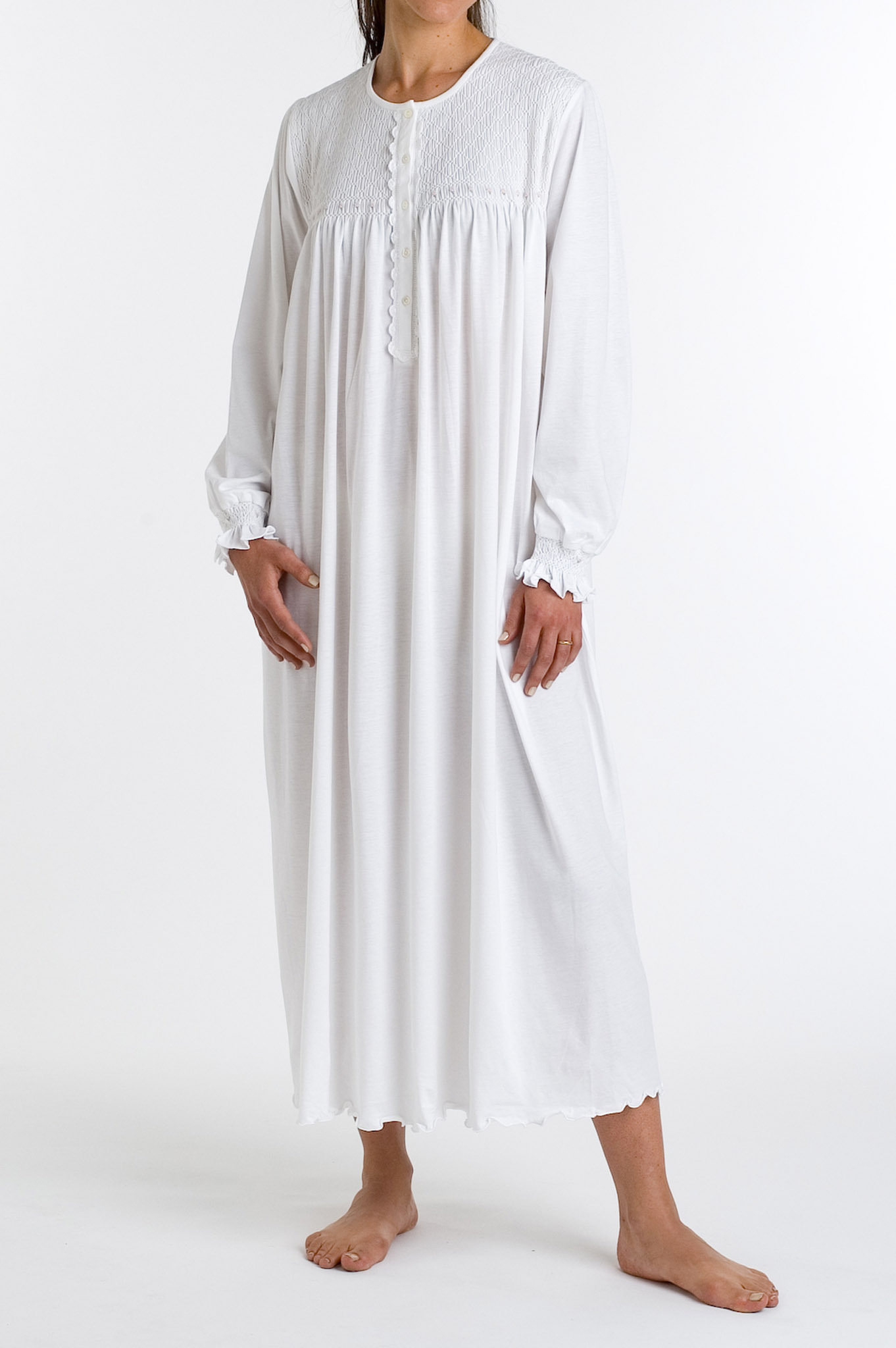 P.Jamas Tulipan Embroidered Long Sleeved Gown White w/ Pi...